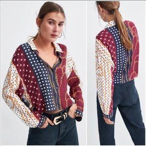 Zara Chain Print Polka -Dot Button Front Blouse